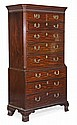 A George III mahogany chest on chest, circa 1790,