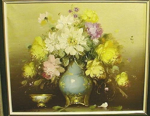 P.Kloton (20th century Hungarian School) oil on canvas, still life with flowers in a blue vase, signed, 38 x 45cms
