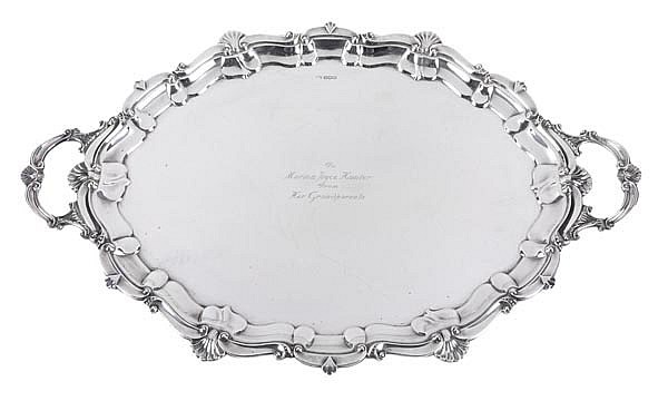 A silver shaped oval twin handled tray by