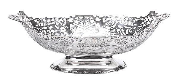 A silver shaped oval basket by Walker & Hall,