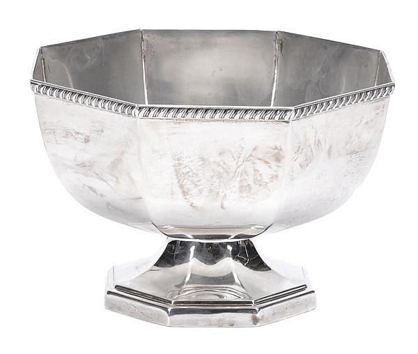 A silver octagonal pedestal punch bowl by Joseph
