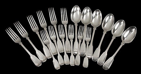 A Victorian set of six of table spoons, table