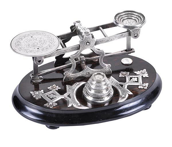 A set of electro-plated postal scales by Sampson