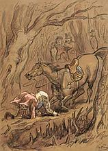 Phiz [Browne (Hablot Knight)] - Original fox hunting scenes,