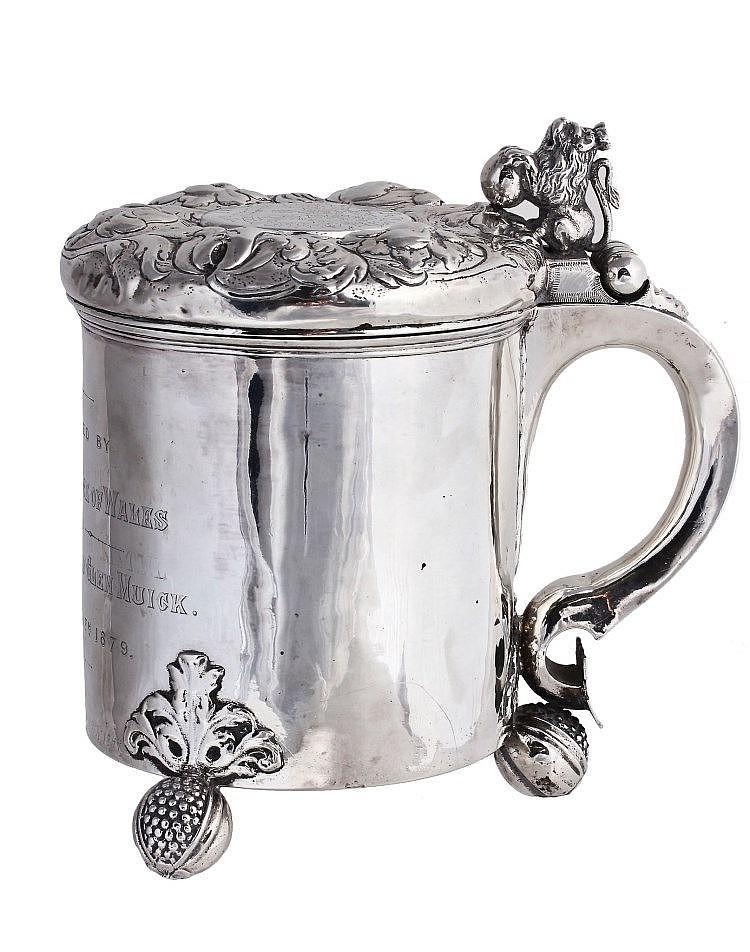 A Danish silver peg tankard, maker's mark only, CK conjoined , circa 1700