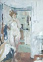 Bernard Dunstan (b.1920) Nude in doorway Oil on