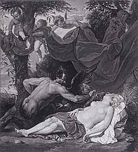 Valentine Green ARA (1739-1813) - Antiope, sleeping, surprised by Jupiter in the form of a Satyr,