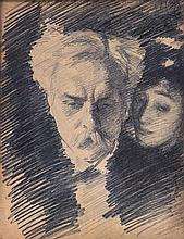 After John Singer Sargent - Portrait of Gabriel Fauré and Mrs Patrick Campbell,