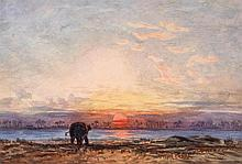 Attributed to Eduard Hildebrandt - Sunset on the Chow Praya River, Siam,
