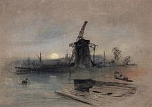 Henry Bright (1814-1873) - Windmill by a lock,
