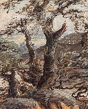 David Cox the Elder (1783-1859) - Tree study, with mountains beyond,