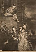 James Watson (1740-1790) - Ladies Sarah Lenox and Susan Strangeways, with C.J. Fox,