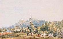English School (19th century) - A group of two landscapes and seven figures studies in Burma,