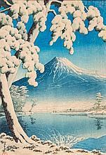 Kawase Hasui (1883-1957) - Clearing after a snowfall on Mount Fuji, from Tagonoura Beach