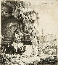 Rembrandt van Rijn (1606-1669) - Christ and the woman of Samaria among ruins, at a well,