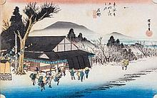 Ando Hiroshige (1797-1858) - Four oban yoko-e, from Fifty-three stations of the Tokaido Road series,