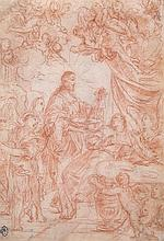 Circle of Simone Cantarini - Christ healing the sick, surrounded by angels,
