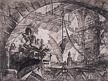 Giovanni Battista Piranesi (1720-1778) - Prisoners on projecting platform, pl.X, from: Carceri d'Invenzione,
