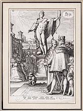 Jan Saenredam (c.1565-1607) - A statue of Apollo presiding over the arts of government,