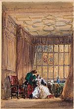 David Cox the Elder (1783-1859) - The interior of the long gallery, Haddon Hall, Derbyshire,