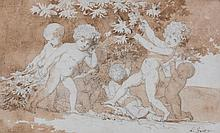 Louis Gauffier (1761-1801) - Six cherubs playing and collecting grapes,