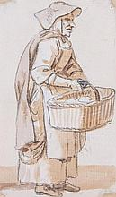 Paul Sandby RA (1731-1809) - Study of an old woman with basket,