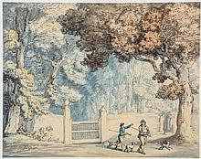Thomas Rowlandson (1757-1827) - Two sportsmen, one possibly Rowlandson, out shooting in Hengar Woods, West Camelford,