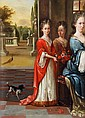 Manner of Henri Gascars, Three ladies assembled on