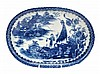 A Caughley blue and white oval baking dish,