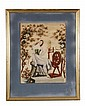 A woolwork picture, mid 19th century, of a young