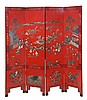 A Chinese lacquered coromandel style four-fold