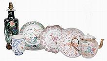 A selection of Chinese porcelain , Kangxi and later A selection of Chinese porcelain , Kangxi and later, comprising a pair of famille verte plates, 22.5cm diameter; a Chinese dish painted in iron red with warriors, 22cm diameter; a famille rose petal