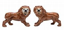 A pair of Bo'ness models of lions , circa 1900  A pair of Bo'ness models of lions  , circa 1900, typically modelled with glass eyes, 36cm in length