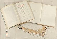 Hope  (W.H. St. John) - Windsor Castle An Architectural History, 2 vol., plus portfolio,  limited edition 217/1050,  bookplates removed, contemporary half vellum, rubbed and marked, folio, Country Life,   1913. (3)