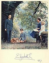 SP A Royal Christmas Card for 1957 signed by Her Majesty Queen Elizabeth II