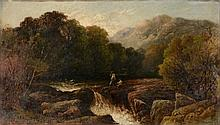 English School (19th Century) - Fishing on the banks of a river