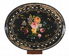 A Victorian black lacquered, painted and parcel gilt papier mache oval tray
