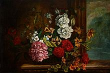 Manner of Jakob Bogdani - Still life of flowers in a wicker basket, with a fluted column behind