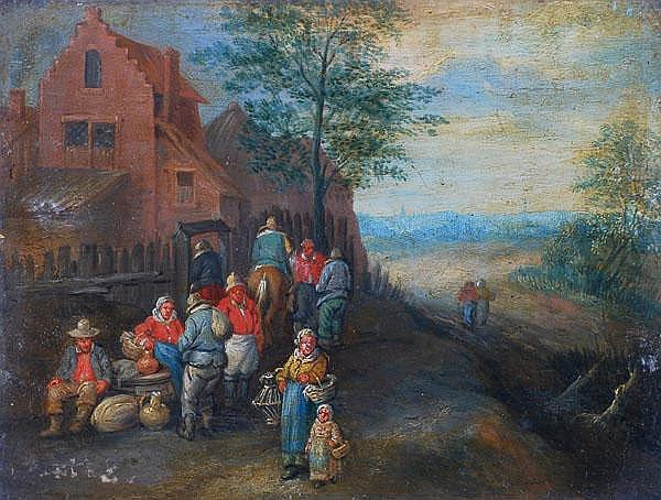 Manner of Theobald Michau A village scene with
