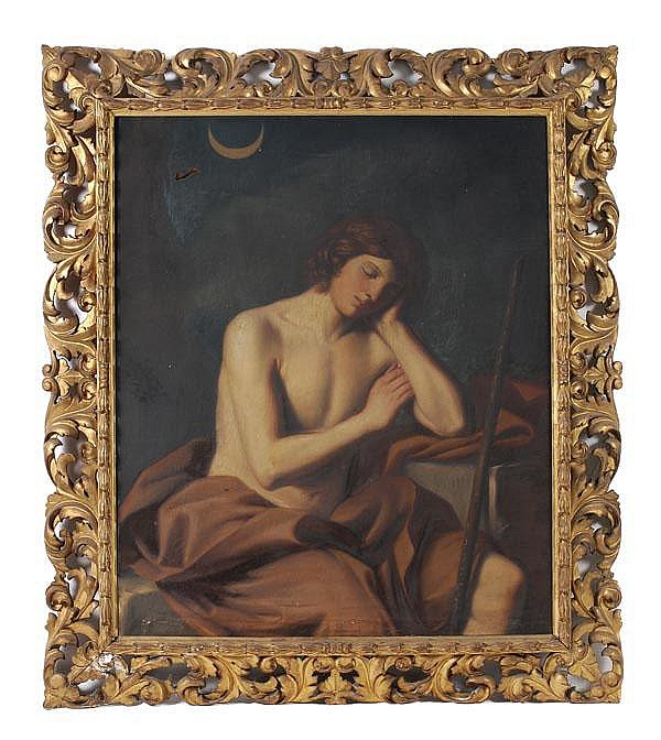 Manner of Guido Reni A resting boy Oil on canvas,