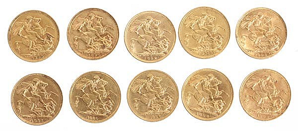 Victoria, Sovereigns (10), 1876; 1880; 1886; 1888;