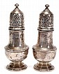 A pair of silver vase shape sugar casters by