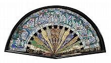 A Chinese Export fan, 19th century, painted in