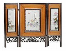 A Chinese hardwood porcelain mounted tripartite