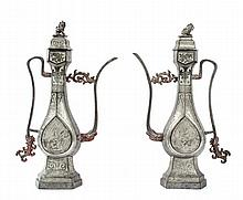 A pair of pewter ewers, 19th century, of Middle