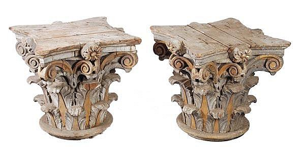 A pair of carved pine column capitals, 19th