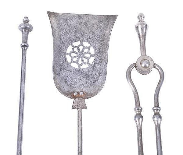 Three George III steel fire tools, late 18th/