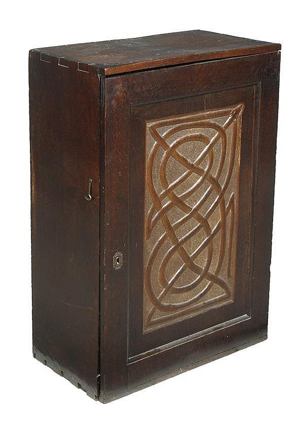 An oak hanging cupboard, 17th/ early 18th century,