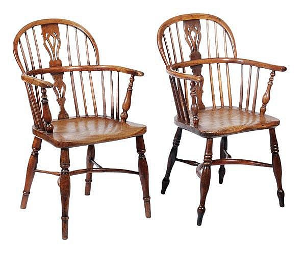 Two ash, elm and yew windsor armchairs, second
