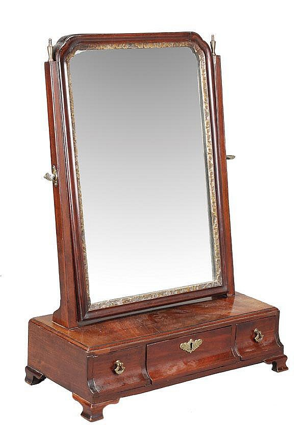 A George III mahogany dressing table mirror, circa